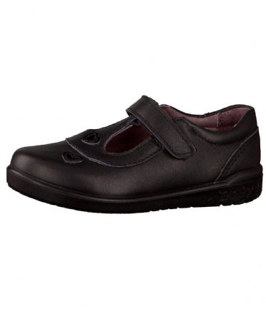 Ricosta LIZA leather Velcro T-Bar Hearts School Shoe (Black)